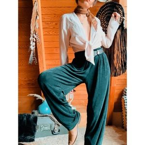 VINTAGE Emerald Green high Waisted Flowy Pants
